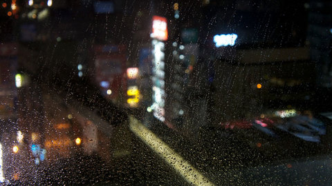 雨降る秋葉原の夜