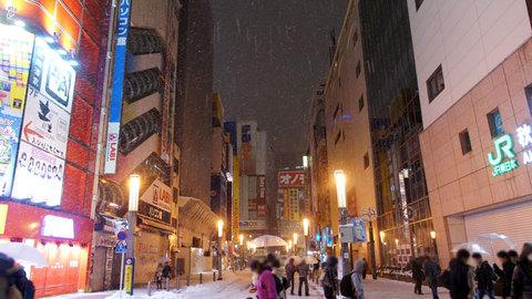 雪の秋葉原駅前